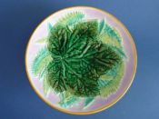Rare George Jones Majolica 'Leaf and Fern' Low Comport - Pink Ground c1870